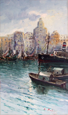Art work by firma Illeggibile Marina Napoletana - oil table