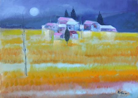 Quadro di Lido Bettarini Campo di grano di notte - olio tela