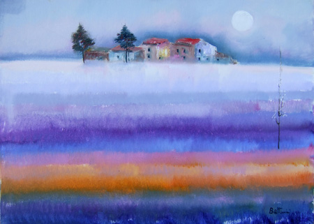 Art work by Lido Bettarini Campo di lavanda - oil canvas
