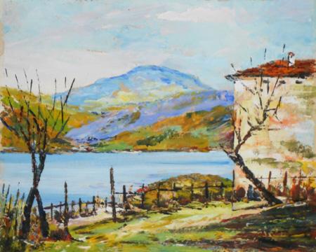 Quadro di V. Gnudi Lago di Suviana (Badi) - olio cartone