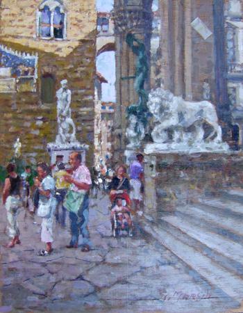 Quadro di Graziano Marsili Piazza della Signoria (Firenze) - olio tavola