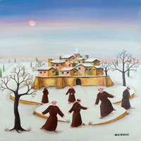 Work of  Zenone (Emilio Giunchi) - La grande nevicata oil table