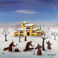 Work of  Zenone (Emilio Giunchi) - Inverno al convento oil table