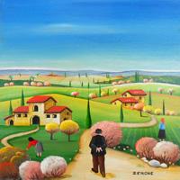 Work of  Zenone (Emilio Giunchi) - Campagna toscana oil table