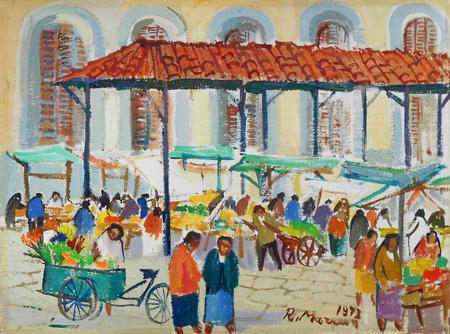 Art work by Rodolfo Marma Mercato Centrale - oil canvas cardboard