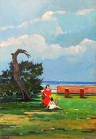 Quadro di Armando Sainati - Al mare olio tavola