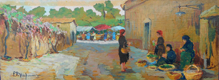 Art work by  Pellegrini Mercato a Montenero - oil hardboard