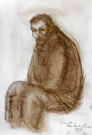 Quadro di Beppe Fabbrini Ricoverato Osp. Psichiatria - matita carta