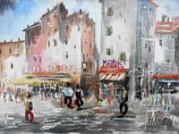 Quadro di  Mimon - Montmartre olio tavola