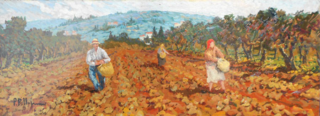 Quadro di  Pellegrini Val d'Orcia  - olio faesite
