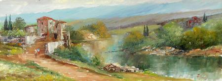 Quadro di  Aluigi Paesaggio - olio cartone telato