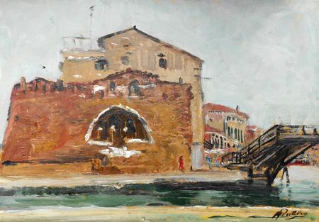 Quadro di Rutilio Muti Venezia - Canale S.Chiara - olio carta