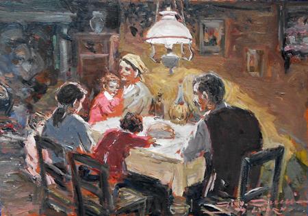 Quadro di Giovanni Ciucci da Livorno A cena - olio tavola