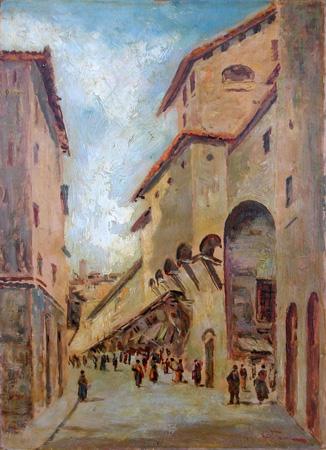 Quadro di Arturo Giulio Faini Veduta del Ponte Vecchio - olio cartone