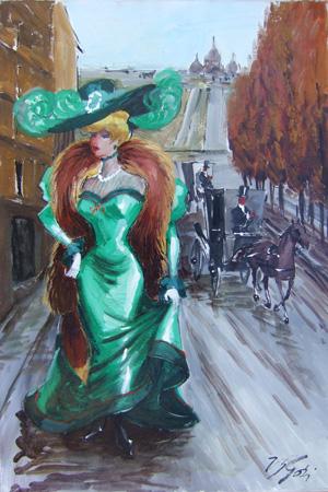 Quadro di Vasco Gori Parigina - olio tela