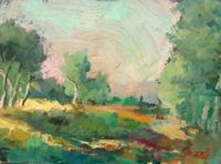 Quadro di Gino Tili - Paesaggio toscano olio tavola