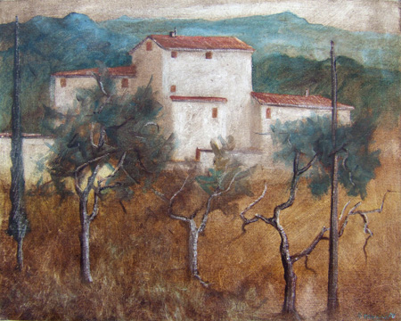 Art work by Marcello Meucci Ultima casa del paese - oil canvas cardboard