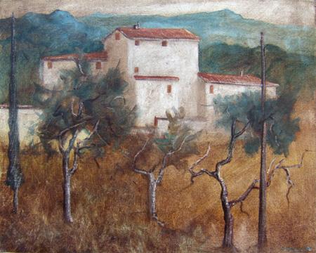 Quadro di Marcello Meucci Ultima casa del paese - olio cartone telato