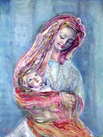 Quadro di Iris Martens Maternità - olio tela
