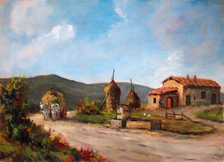 Quadro di  Millus (Mario Illusi) Paesaggio - olio compensato