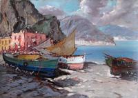 Quadro di  Sansetti - Barche olio tela