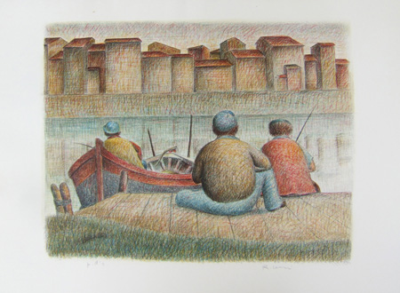 Art work by Roberto Masi I pescatori (P.D.A.) - lithography paper