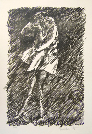 Art work by Americo Mazzotta Figure - lithography paper