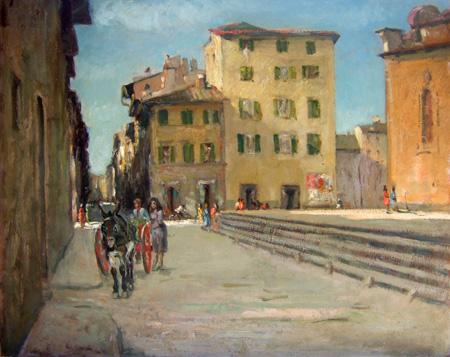 Quadro di Gino Paolo Gori Via del Presto di S. Martino - olio cartone