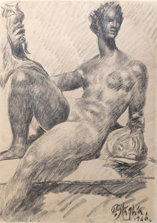 Art work by Paulo Ghiglia Naiade - charcoal paper
