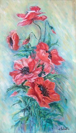 Quadro di T. Valentini Papaveri - olio tela