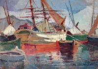 Quadro di Renzo Martini - Barche al porto olio faesite
