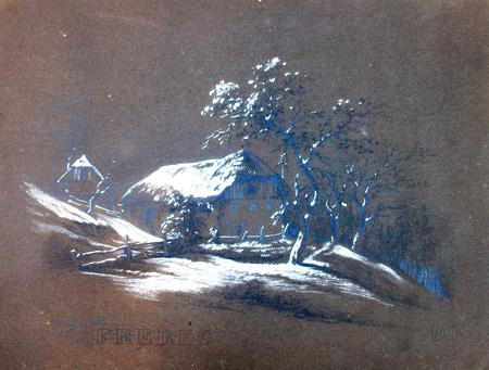 Art work by firma Illeggibile Paesaggio - pastel paper