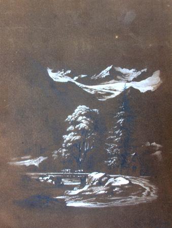 Art work by firma Illeggibile Paesaggio con neve - pastel paper
