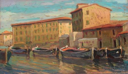 Quadro di Nello Giovannelli Livorno - quartiere Venezia  - olio tavola