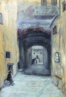 Quadro di G. Cipriani - Vicolo Fiorentino olio cartone telato