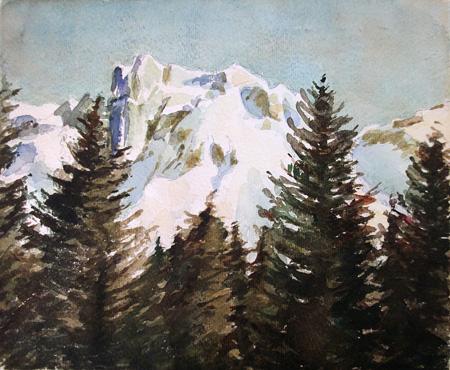 Quadro di Aldebrando Madami Dolomiti - acquerello carta