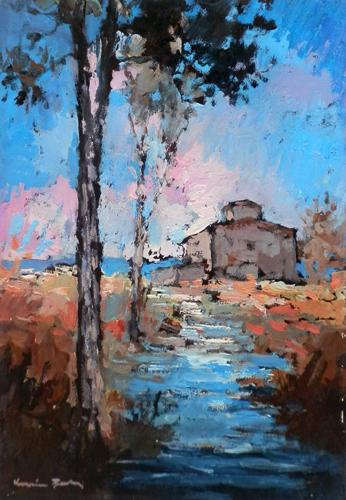 Quadro di Voltolino Fontani Paesaggio - olio tavola