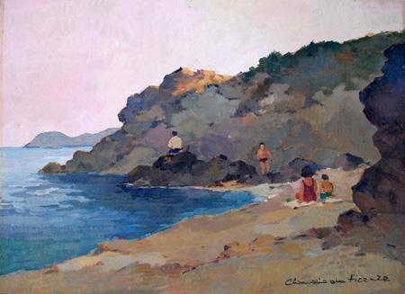 Quadro di Claudio da Firenze Spiaggia - olio tavola