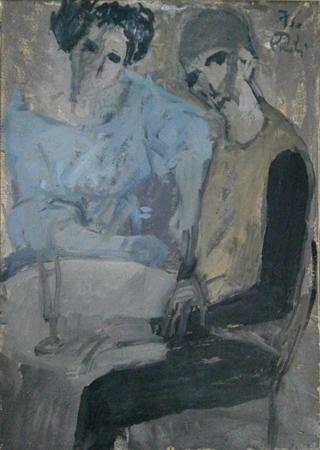 Quadro di Bruno Paoli Figure - olio tavola