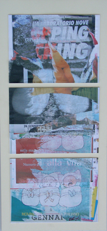 Quadro di Andrea Tirinnanzi frammenti della memoria - decollage cartone