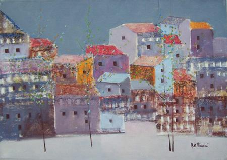 Quadro di Lido Bettarini Nevicata con case - olio tela