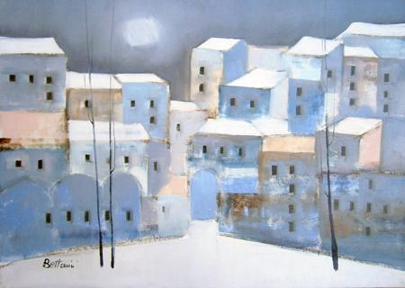Art work by Lido Bettarini Nevicata con case - oil canvas