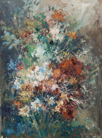 Quadro di Norberto Martini Composizione floreale - olio tela