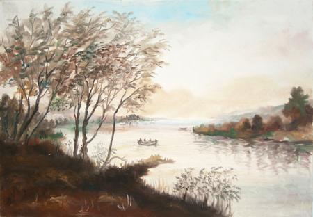 Art work by firma Illeggibile Paesaggio - oil canvas