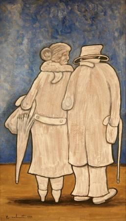 Quadro di Emilio Malenotti Figure - olio tavola