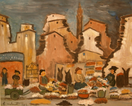Art work by Emilio Malenotti Mercato - oil table
