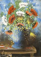 Quadro di Valdo Baldi  - Vaso di fiori olio tavola