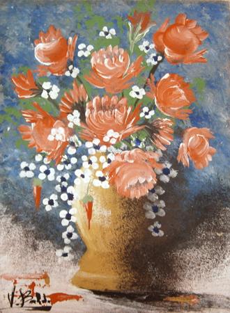 Quadro di Valdo Baldi  Vaso di fiori - olio tavola