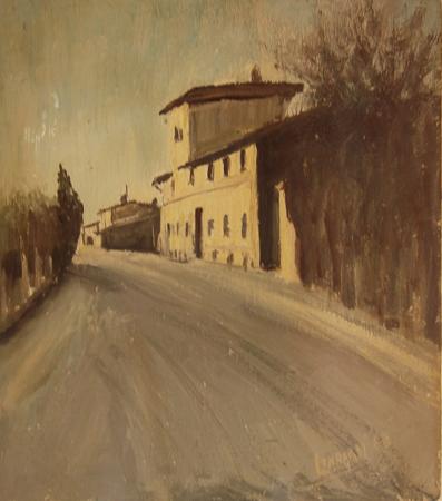 Quadro di  Lombardi Lungo la strada - olio tavola