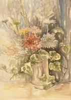 Quadro di firma Illeggibile - Vaso di fiori acquerello carta